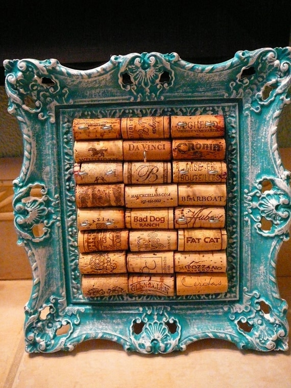 Vintage Jewelry Holder/ Picture Frame/Wine Cork Art/ OOAK/Jewelry Display / Syroco