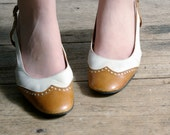 vintage French cream and tan brogue leather shoes