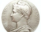 """Antique French Medal of the MARIANNE signed A. BORREL 1932 on 18"""" sterling silver rolo chain"""