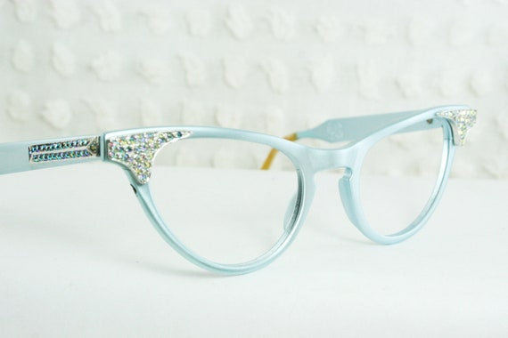 Pale Blue Glasses Frames : Vintage 50s Cat Eye Glasses 1950s Eyeglasses by DIAeyewear ...