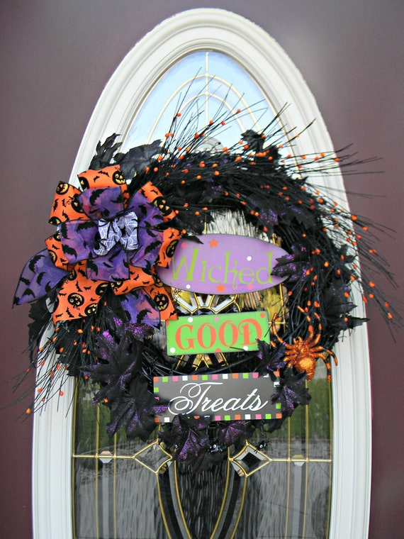 "Halloween Door Wreath Decor..""Wicked Good Treats"" One of a Kind"