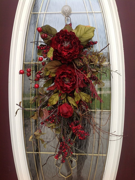 "Christmas Gift Twig Vertical Teardrop Swag Door Decor...""Enchanted Burgundy"" Use All Year Round"