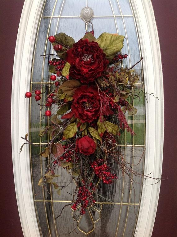 christmas gift twig vertical teardrop swag door