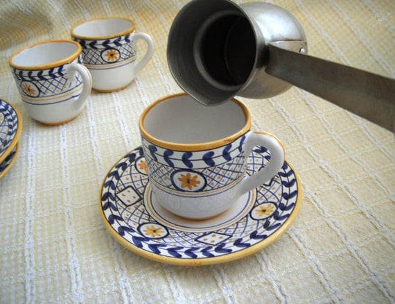 Espresso Set Handpainted in Malveira, Portugal - Signed by artists and dated 1983