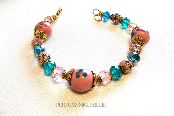 Peacock and Peach Crystals, Floral Ceramic and Cloisonne in Gold Bracelet