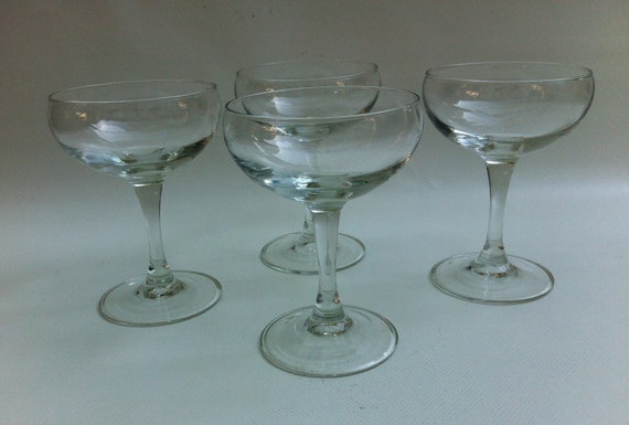 4 Vintage Champagne Coupe Glasses - Nick and Nora Saucer