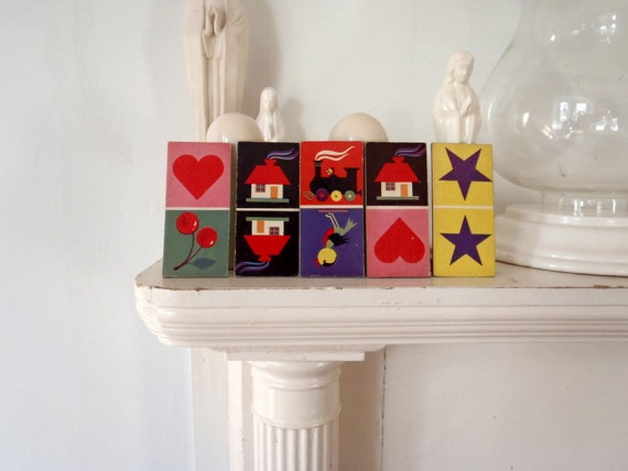Pop Art Mini Cards Antique 1950s Matching Game Chips Pieces