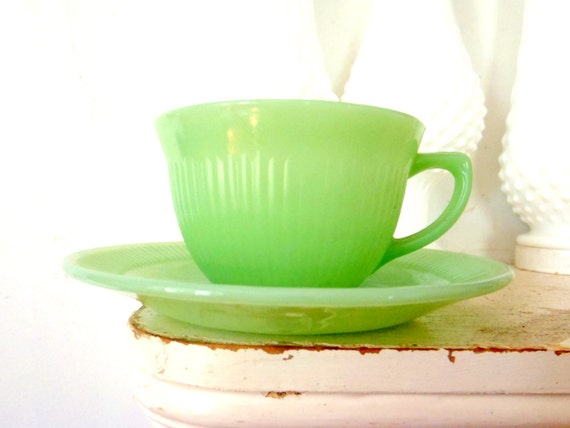 Jadite Cup and Saucer Fire King Jane Ray 1950s