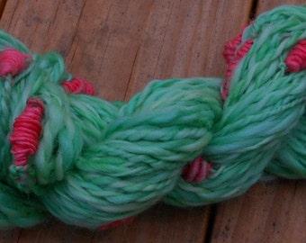 Handspun Art Yarn, Handspun Yarn, Christmas Stacks, Wool Yarn, Worsted Weight, 60 yards