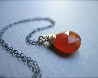 Deep Orange Red Chalcedony Necklace in Oxidized Sterling Silver and 14K Gold Fill, Rust Gemstone Mixed Metal Necklace