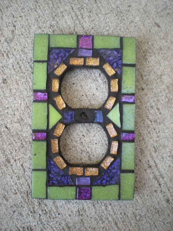 Mosaic Outlet Cover in Green, Orange, and Purple Stained Glass