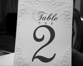 Table Numbers, Elegant Pearl Corner Table Number cards adorned with 3 swarovski rhinestones, set of 30 numbers