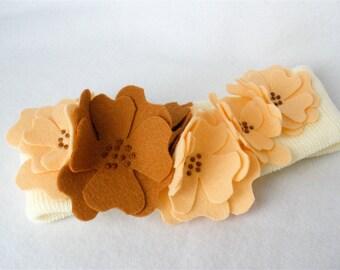 Ivory Knit Floral Headband,  Stretch Ear Warmer, Handmade Wool Felt Flowers,  Copper and Peach Flower Cascade