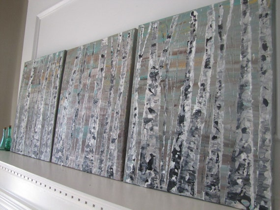 20x48 large three panel triptych aspen tree impasto style raised textured acyrlic painting myimaginationisyours neutral teal gold bronze