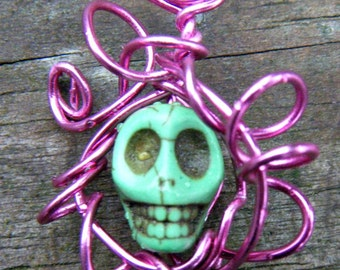 Day of the Dead Wire Wrapped Caged Carved Skull Magnesite Necklace. Turquoise Carved Skull Magnesite Pendant. ON SALE WAS 12.00