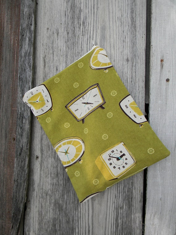 """Small Wet Bag for Cloth Diapers Zipper Top Echino Clocks Green Japanese Fabric 9""""x12"""""""