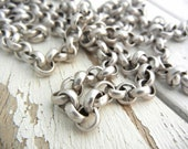 THREE Feet of Rolo Chain with Antique SILVER Finish 7mm Links - Price is for THREE Feet - Great For Jewelry Making - Brass Base.