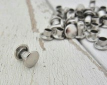 Extra Small Double Cap Rivets - Nickel Plated - Great for Leather and Metal - 100 Pack.