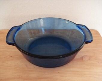ANCHOR HOCKING Clear Cobalt Glass Casserole Baking Dish 1038 2 Qts.