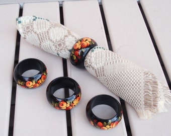 Set Of 4 Wood Wooden Black Lacquer Hand Painted Napkin Rings.