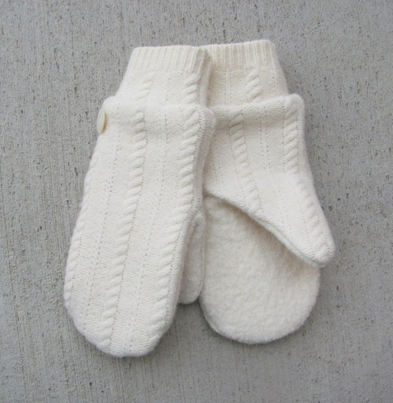 Felted Wool Mittens From Recycled Sweaters Fleece Lined Winter White Cable Knit