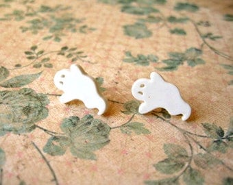 White Ghost Earrings, Halloween White Ghost, White Ghost Stubs