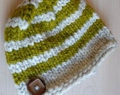 Knit Child's Hat, Stripes, Wool Hat, Wooden Button, Green and Cream
