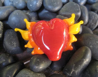 Flame Heart Handmade Glass Bead