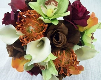 TRoPiCaL DeSTiNaTioN 2 Piece BRiDaL PaCKaGe Fall Wedding Flowers ReaL TouCH Calla LiLieS, oRCHiDS, RoSeS BRoWN/ORaNGe/BuRGaNDY