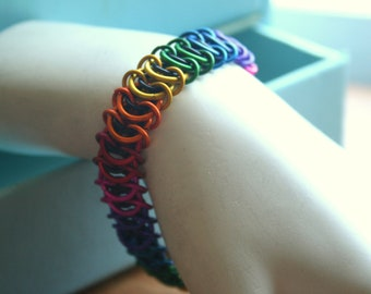 Rainbow and Black Centipede Bracelet 7 inches