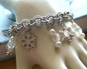 White Snowflakes Charm Bracelet