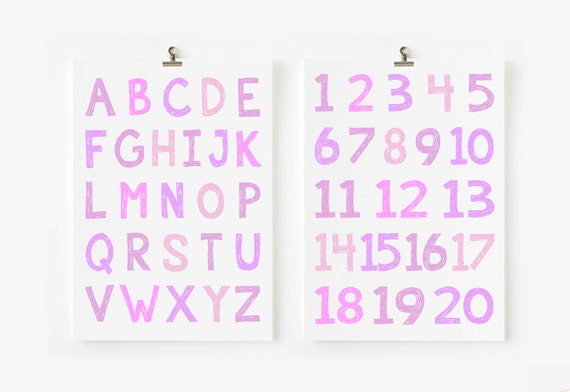 ABC Wall art for children and Numbers // ABC and 123 Poster // ABC poster // Kids Wall Art
