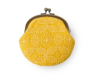 Honey Yellow Retro Flower Lace Metal Frame Purse