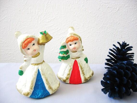 Christmas Holiday Figurines Homco Girls Christmas Holiday Vintage Pair