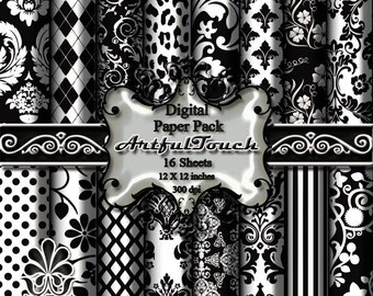 "Digital Paper, Digital Scrapbook Paper Pack, Black and White Damask, 16 Digital Background, (12"" X 12"" - 300 DPI) INSTANT DOWNLOAD"