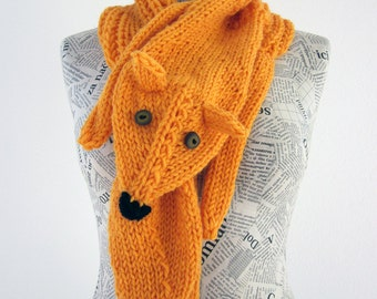 Hand knit fox scarf in yellow orange with polymer clay buttons