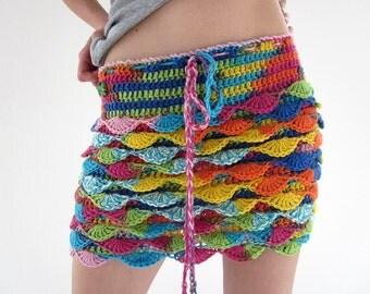 Waves crochet mini skirt in blue, orange, green, yellow, pink