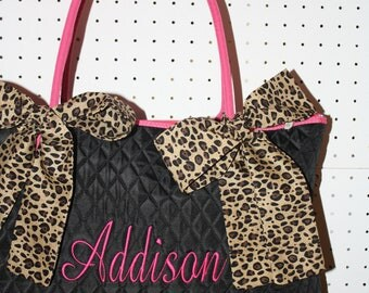 Black Quilted Large Tote Bag Leopard Hotpink Custom Embroidery