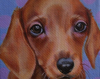 Dachshund Puppy Miniature Painting with Easel