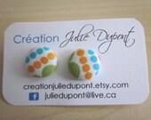 bo-257  yellow blue green dots fabric button earrings