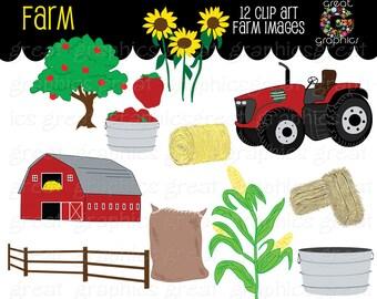 Farm Clipart Fall Festival Apple Digital Farm Clip Art Red Tractor Clipart Printable Sunflower Red Barn Digital Clipart - Instant Download