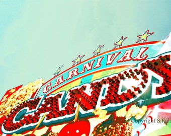 Carnival Candy Photograph County Fair Candy Apples Aqua Mint Green Red Yellow Food Decor 8x12
