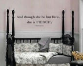 And though she be but little Shakespeare wall decal vinyl quote