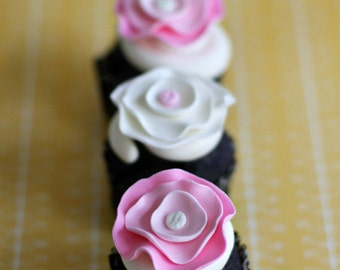 Fondant Modern Flower Cupcake, Cookies or Cake Topper