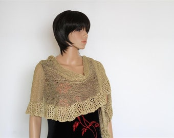 Golden Scarf SHAWL -   A long lovely golden yarn knitted shawl Clothing Accessory