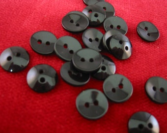 "Black Button, Small black button, Lot of 20,  Approx 1/2"" (12mm),"