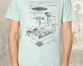 Vinyl Turntable Explosion Diagram - Seafoam  Men's /  Unisex American Apparel T-Shirt - All Sizes Available