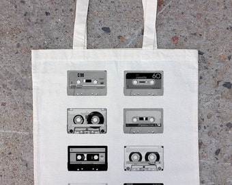 Retro Cassette Tapes - Cotton Canvas Tote Bag