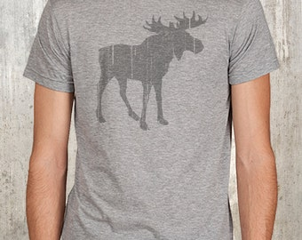 Moose with Grunge Texture - Men's Screen Printed T-Shirt