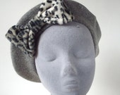 Grey Hat- Grey Beret Hat with Grey Leopard Fake Fur Bow